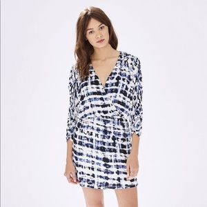 Parker Catalina Faux Wrap Print Dress V Neck Drape